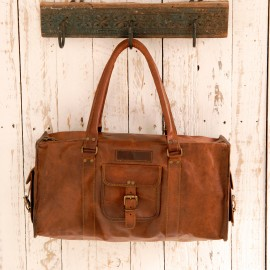 Large or Extra Large Brown Leather Holdall - Reworked
