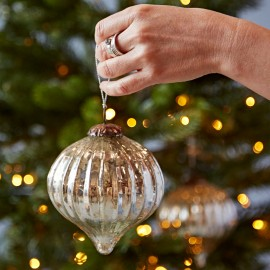Set Of Two Large Antique Effect Glass Baubles