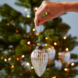Teardrop Antique Effect Glass Bauble