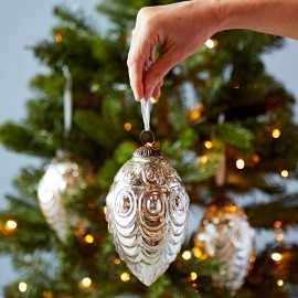 Antique Effect Glass Oval Christmas Bauble