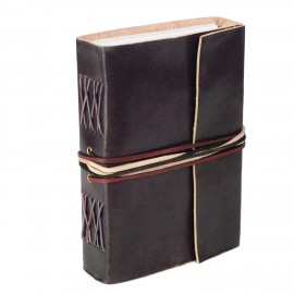 Leather 3-string black leather journal
