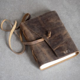 Personalised Buffalo Leather Wraparound Journal