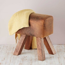 Pommel Horse Style Buffalo Leather Stool