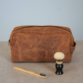Personalised Buffalo Leather Large Wash Bag