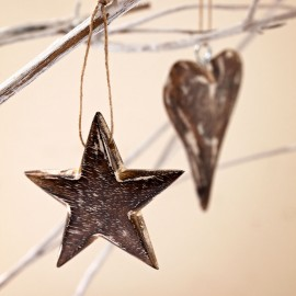 Mango Wood Star and Heart Decoration (x2)