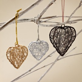 Hand Crafted Metallic Hanging Wire Heart