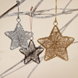 Hand Crafted Metallic Hanging Wire Star