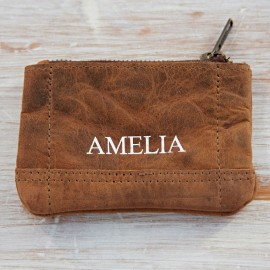 Personalised Buffalo Leather Purse with Keyring
