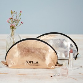 Personalised Metallic Domed Makeup Bag