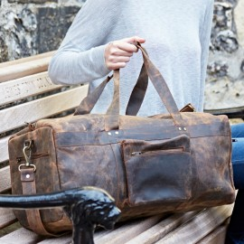 Personalised Buffalo Leather Duffle Bag