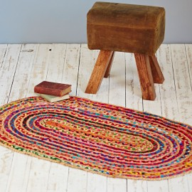 Multicoloured Jute And Cotton Rug