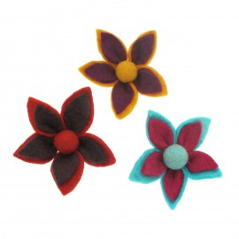 Felt 2 Tone Flower Brooch (x3)