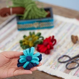 Felt Two Tone Flower Brooch (x3)