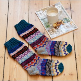 Woollen Fairisle Socks - Blue, Red and Yellow