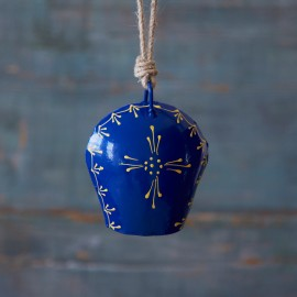 Hand Painted Blue Iron Bell