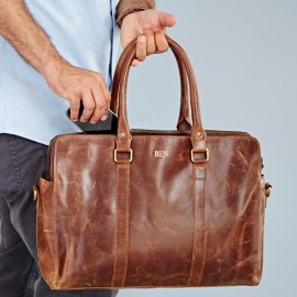 Personalised Buffalo Leather Executive Shoulder Bag
