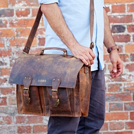 Personalised Buffalo Leather Briefcase