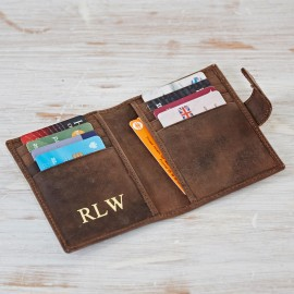 Personalised Buffalo Leather Handmade Credit Card Case