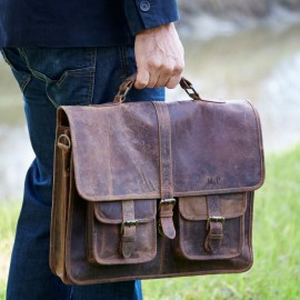 Personalised Buffalo Leather Laptop Satchel