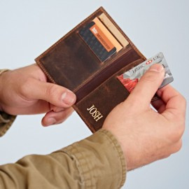Personalised Buffalo Leather Credit Card Holder