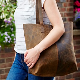 Personalised Buffalo Leather Shopping Bag