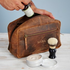 Personalised Buffalo Brown Leather Wash Bag