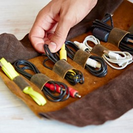 Personalised Buffalo Leather Cable Organiser