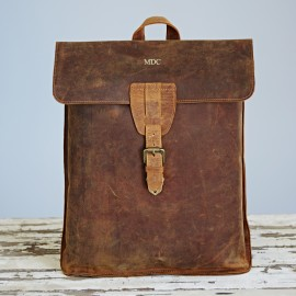 Personalised Buffalo Leather Distressed Backpack