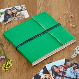 Large 3 String Leather Photo Album Green