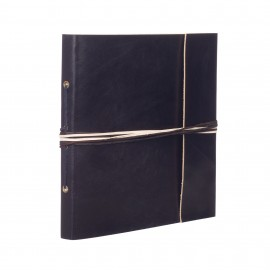 Large 3 String Leather Photo Album Black