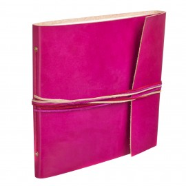 Large 3 String Leather Photo Album Cerise