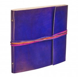 Large 3 String Leather Photo Album Cornflower Blue