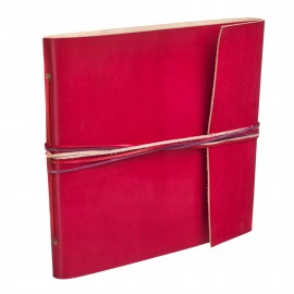 Large 3 String Leather Photo Album Red