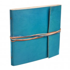 Large 3 String Leather Photo Album Turquoise