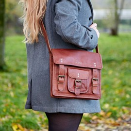 Personalised Medium Brown Leather Satchel