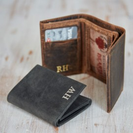 Personalised Buffalo Leather Handmade Billfold Wallet