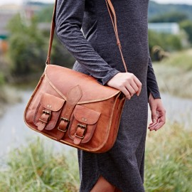 Personalised Brown Leather Satchel Style Saddle Bag