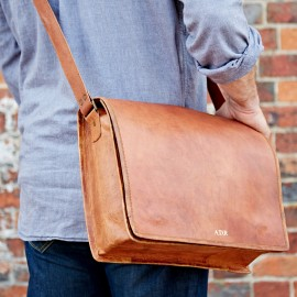 Personalised Large Brown Leather Courier Bag