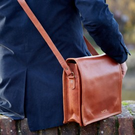 Personalised Medium Brown Leather Courier Bag