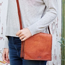 Personalised Small Brown Leather Courier Bag