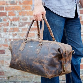 Personalised Buffalo Leather Overnight Bag