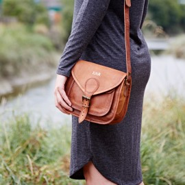 Personalised Curved Brown Leather Saddle Bag
