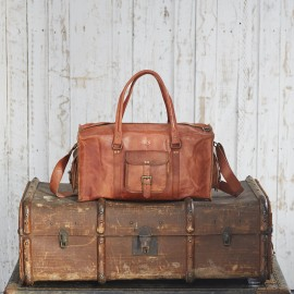 Personalised Large or Extra Large Brown Leather Holdall