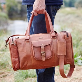 Personalised Large or Extra Large Brown Leather Holdall With Zipped Pockets