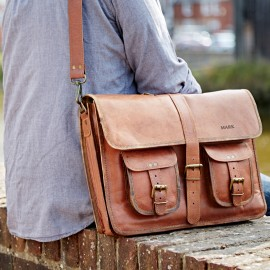 Personalised Large Brown Strap Style Leather Satchel Bag