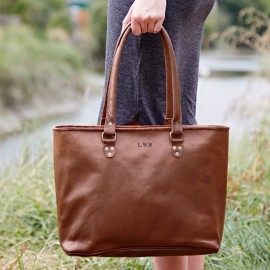 Personalised Large Leather Shopping Bag