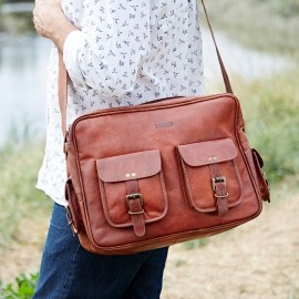 Personalised Large Brown Leather Overnight Bag