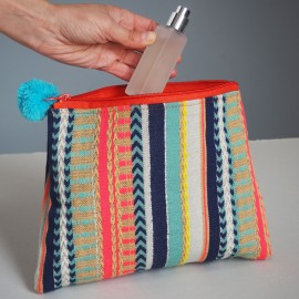 Multicoloured Fabric Accessory Bag