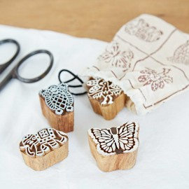 Four Animal Design Mango Wood Blocks