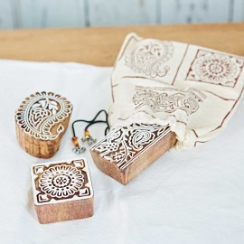 Three Assorted Design Mango Wood Blocks